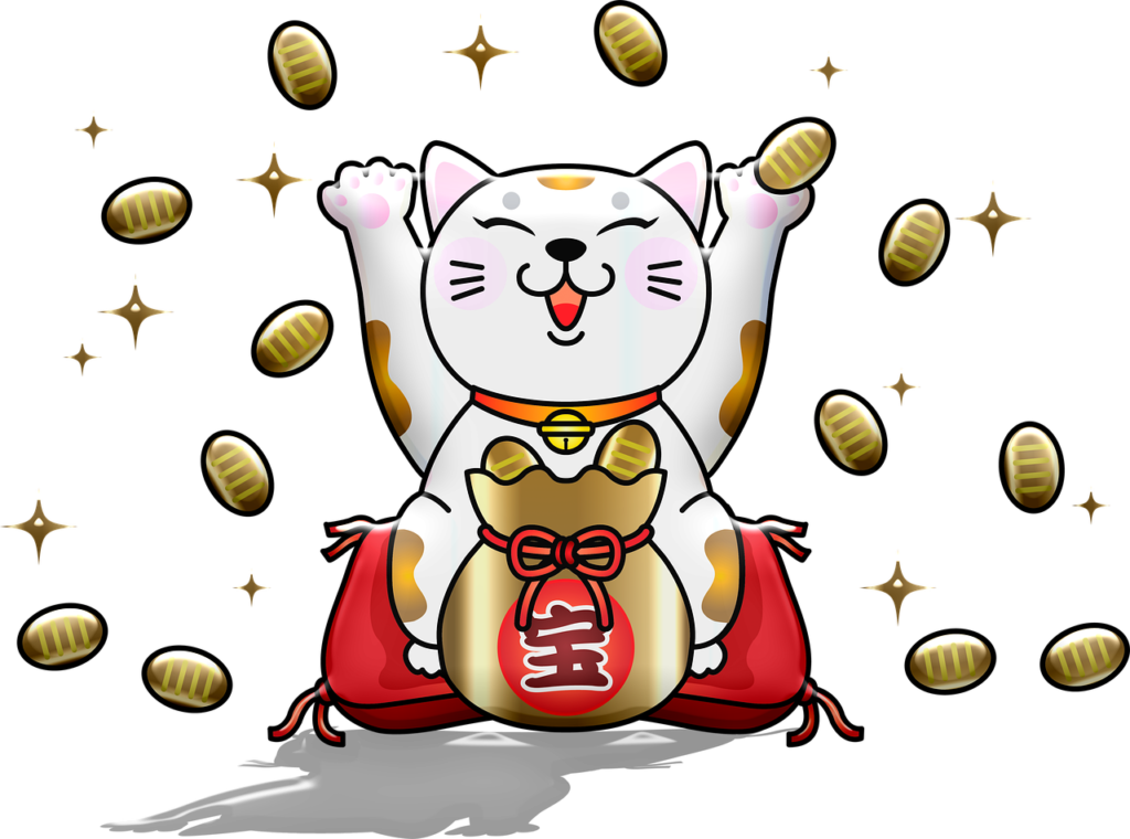 Lucky Cat Fortune Gold Cat Paw  - AnnaliseArt / Pixabay